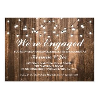 婚約の招待状木およびライト カード