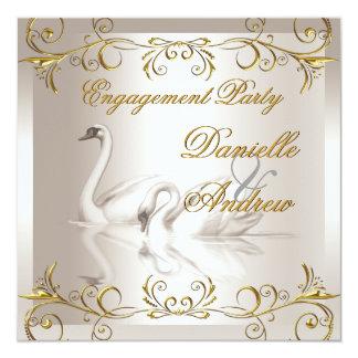 婚約の白鳥の金ゴールドのセピア色のエレガントなパーティー 13.3 スクエアインビテーションカード