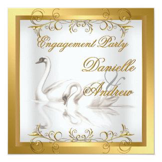 婚約の白鳥の金ゴールドの白人のエレガントなパーティー 13.3 スクエアインビテーションカード