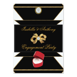 婚約の金ゴールドのダイヤモンド指輪の赤く黒いパーティー カード