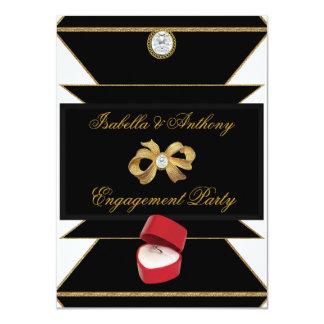 婚約の金ゴールドのダイヤモンド指輪の赤く黒いパーティー 11.4 X 15.9 インビテーションカード