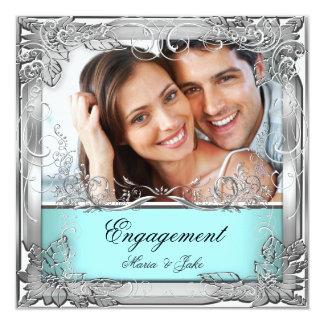 婚約パーティのティール(緑がかった色)の白い銀製の写真 13.3 スクエアインビテーションカード
