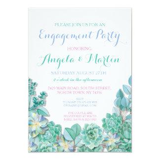 婚約パーティのティール(緑がかった色)の青緑のSucculentsの招待 カード