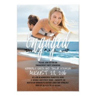 婚約パーティの婚約したな写真のビーチ 12.7 X 17.8 インビテーションカード