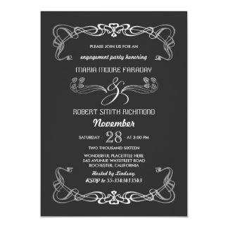 婚約パーティの招待状のアールデコの銀 カード