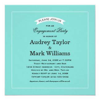 婚約パーティの招待状|の水の青 13.3 スクエアインビテーションカード