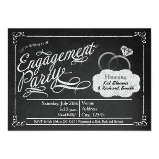 婚約パーティの黒板のチョークの男女共学の招待状 カード