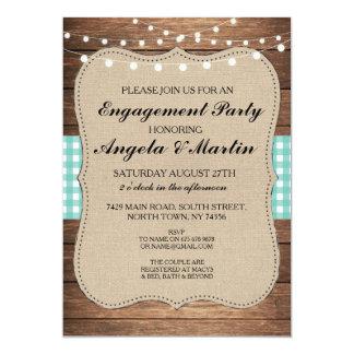 婚約パーティライトティール(緑がかった色)の点検の木製の招待 カード