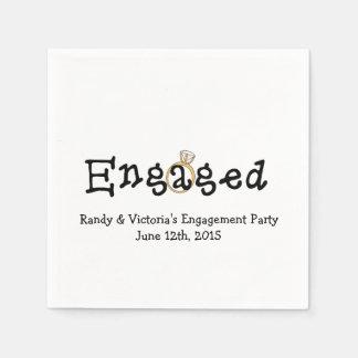 婚約指輪の婚約パーティの紙ナプキン スタンダードカクテルナプキン