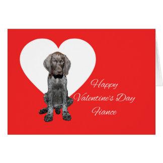 婚約者の光沢のあるハイイログマのバレンタインの初恋 カード
