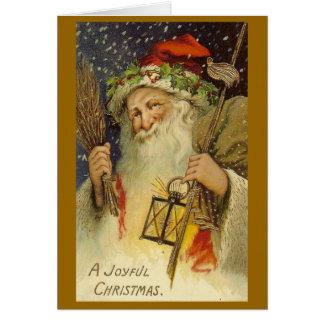 嬉しいクリスマスのヴィンテージのサンタの挨拶状 カード