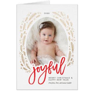 嬉しいフレームの赤及び金ゴールドの書道のクリスマスカード グリーティングカード