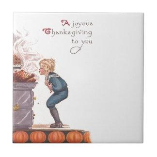 嬉しい感謝祭のヴィンテージの郵便はがき タイル