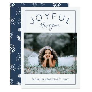 嬉しい新年の写真カード 濃紺 カード
