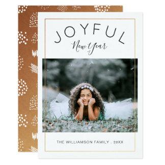嬉しい新年の写真カード 金ゴールド カード