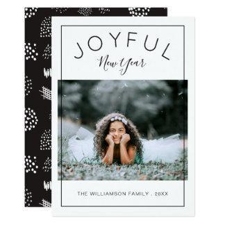 嬉しい新年の写真カード 黒 カード