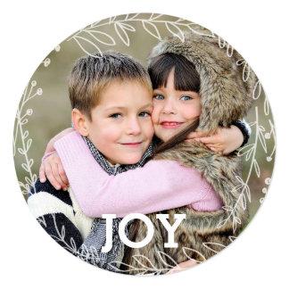 嬉しい月桂樹のリースの休日の写真カード カード