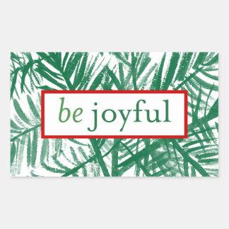 嬉しい水彩画のクリスマスツリーのステッカーがあって下さい 長方形シール