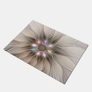 嬉しい花の抽象芸術のベージュブラウンの花柄のフラクタル ドアマット