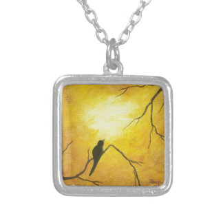 嬉しい鳥の枝金日光の抽象美術 シルバープレートネックレス