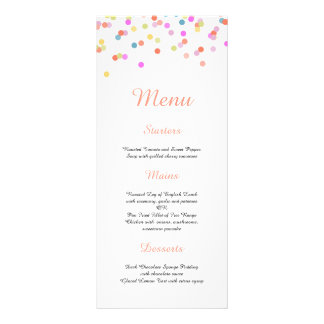 嬉しい|モダンな紙吹雪の結婚式メニュー パーソナライズラックカード
