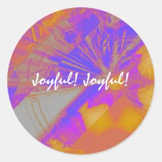 嬉しく嬉しいステッカーシート-オレンジか紫色 ラウンドシール