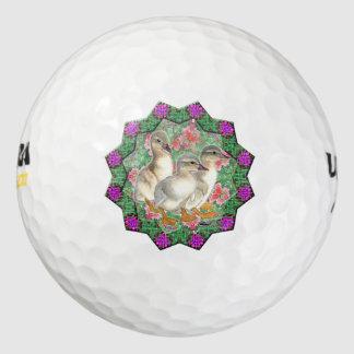 子ガモおよび花 ゴルフボール