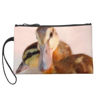 子ガモのアヒルの鳥の野性生物動物のバッグ スエードクラッチ