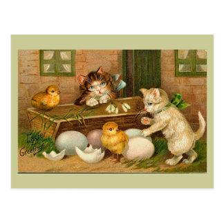 子ネコおよびひよこのヴィンテージのイースター挨拶 ポストカード