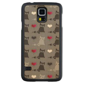 子ネコおよびネズミパターン CarvedメープルGalaxy S5スリムケース