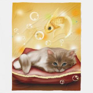 子ネコによってはフリースブランケットが夢を見ます フリースブランケット