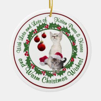 子ネコののどを鳴らす音及びキスとの暖かいクリスマスの願い セラミックオーナメント