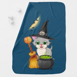 子ネコのハロウィンの灰色の漫画 ベビー ブランケット
