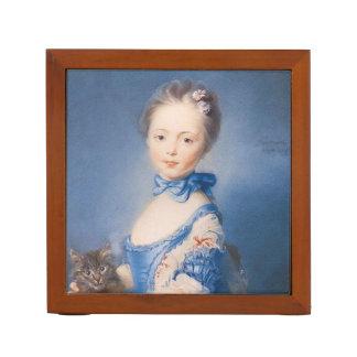 子ネコを持つ女の子、ヴィンテージの芸術 ペンスタンド