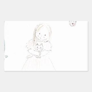 子ネコを持つ女の子 長方形シール