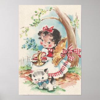 子ネコを持つ40年代の小さな女の子 ポスター