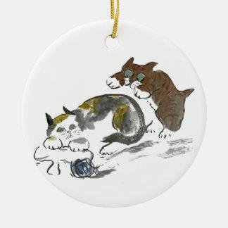 子ネコ及び猫とのヤーンの戦い セラミックオーナメント