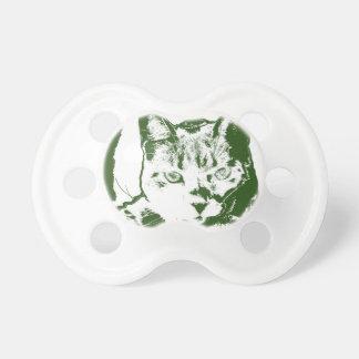 子ネコposterized緑の白い猫のネコ科のデザイン おしゃぶり