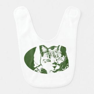 子ネコposterized緑の白い猫のネコ科のデザイン ベビービブ