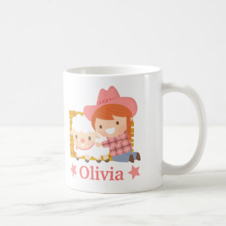 子ヒツジの女の子のマグを持つかわいく小さい女性のカーボーイ コーヒーマグカップ