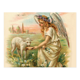 子ヒツジを食べ物を与える旧式な天使 はがき