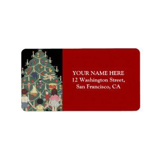 子供およびクリスマスツリー-ヴィンテージのイラストレーション ラベル