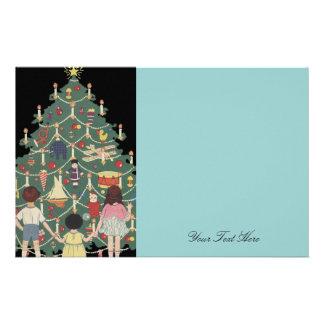 子供およびクリスマスツリー-ヴィンテージのイラストレーション 便箋