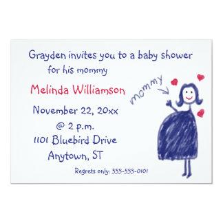 子供からのクレヨンのスケッチのベビーシャワーの招待状 カード