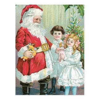 子供が付いているサンタ ポストカード