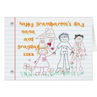 子供が付いているナナおよび祖父の祖父母の日カード カード