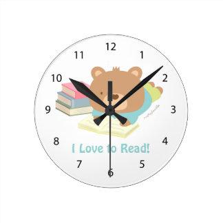 子供に部屋の装飾を読むかわいいテディー・ベア愛 ラウンド壁時計
