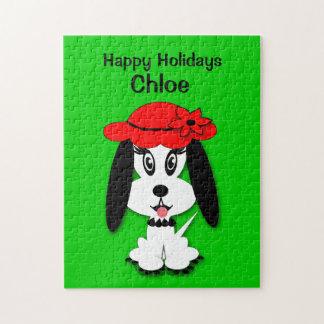子供のかわいい白黒犬のクリスマスのパズル ジグソーパズル