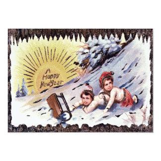 子供のそりの雪の日曜日のかわいいSledding カード