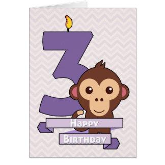 子供のためのバースデー・カードの漫画猿 グリーティングカード
